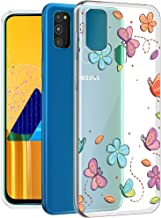 Fashionury ''Flowers and Butterflies'' Shock Proof Protective Soft Transparent Printed Back Case Cover for Samsung Galaxy M30s