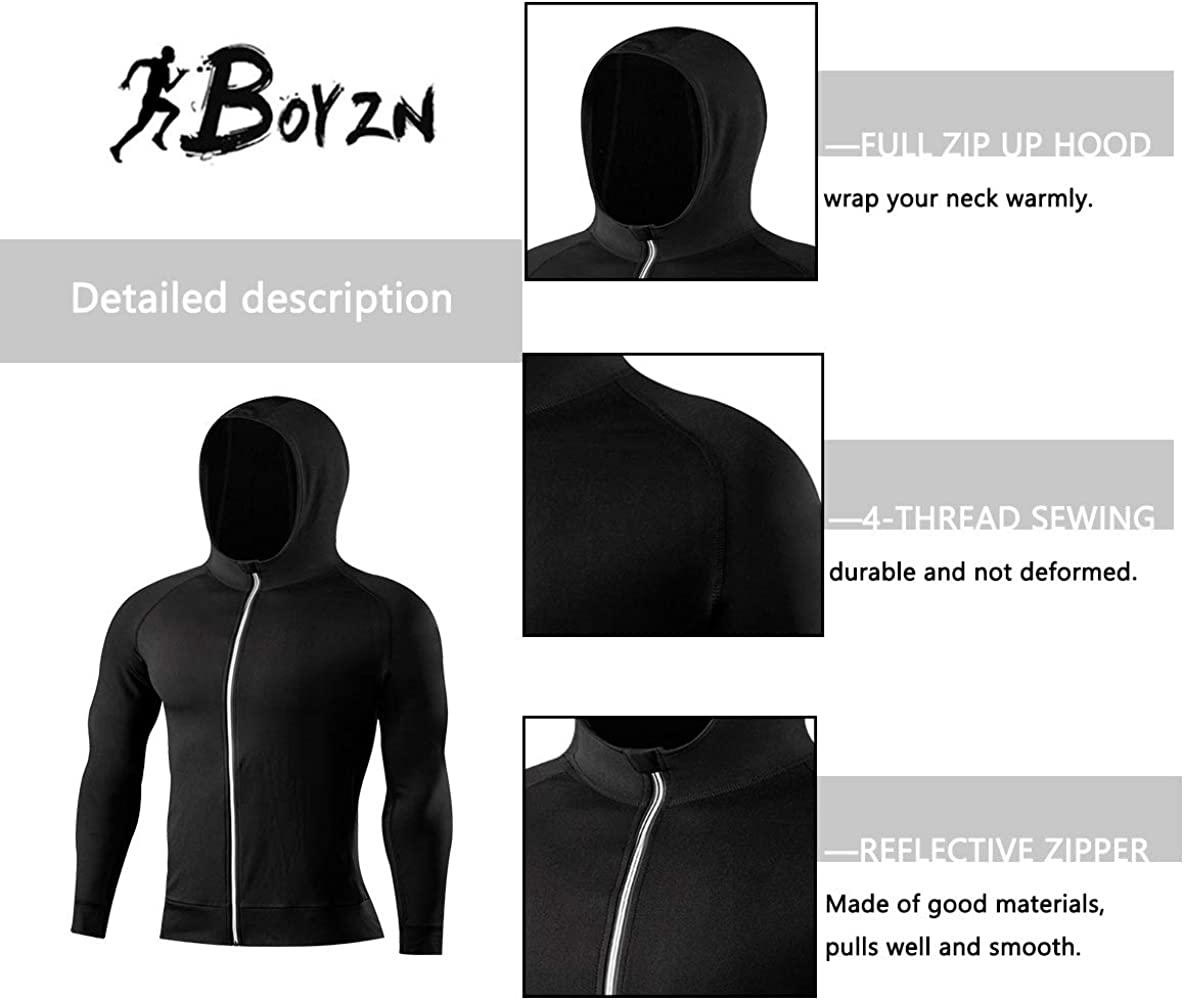 Mens 2 Pack Lightweight Full Zip Up Hoodie Hooded Active Sweatshirt