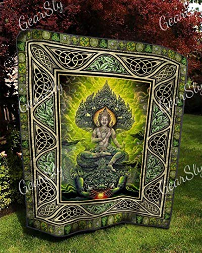 Buddha Glowing Good Thing Celtic Quilt Super King Size - All Season Comforter with Cotton Quilts - Best Decorative Unique Banklet for Traveling, Picnics, Beach Trips, Gifts