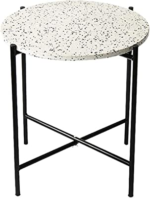Iron Art Table, Combination Can Living Room Bedroom Round Creative Multifunction Sofa Side Tea Table 45 * 50Cm (Color : C)