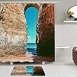LISNIANY Conjunto De Ducha Cortina Alfombra,Pared Algarve Paisaje Hito Playa Lagos Portugal Castillo Gran Cielo Parques Naturales Entrada Exterior,Uso en baño, Hotel