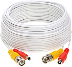75FT White Premade BNC Video Power Cable/Wire for Security Camera, CCTV, DVR, Surveillance System, Plug & Play (White, 75)
