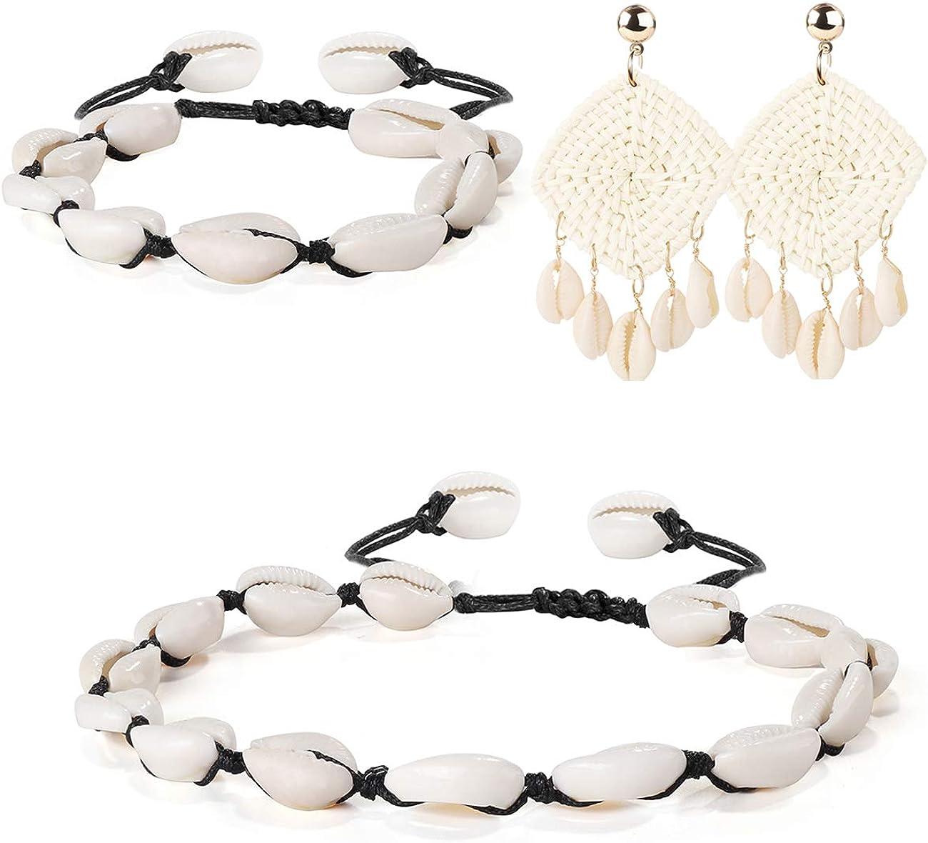 JOERICA Natural Shell Choker Necklace and Earrings Set Handmade Bracelet Anklet Foot Jewelry for Women Girls Adjustable