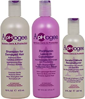 ApHogee Shampoo for Damaged Hair + ProVitamin Leave-In Conditioner 16oz + Keratin 2 Minute Reconstructor 8oz