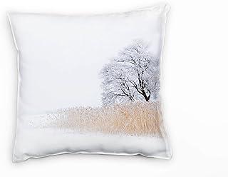 Paul Sinus konst vinter, vit, brun, fruset hav, skylt träd deko kudde 40 x 40 cm för soffa soffa vardagsrum dekorationskud...