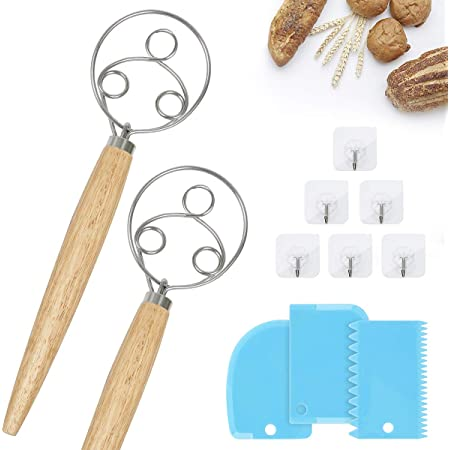Danish Dough Whisk,2pc Dough Whisk ,3 Eyes Origina Danish Dough Whisk,Kitchen Bread Mixer With Wooden Handlefor Cooking Bread, Pastry, Dumpling And Pizza Dough Making