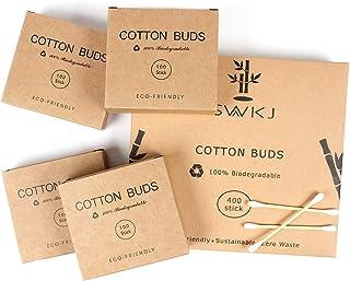 Bastoncillos de algodón en bambú, 4 paquetes de conjunto (400 piezas), Auriculares ecológicos de algodón, Bastoncillos de ...