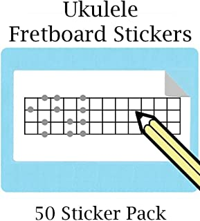 Large Ukulele/Bass Fretboard Stickers with 12 Frets (50 sticker per pack) Great for Bass Ukelele, Uke