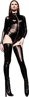 no-branded Women`s Long Sleeve Front Zip Detail Sexy Turtleneck Bodycon Clubwear Bodysuit GTTUS (Color : Black, Size : L)