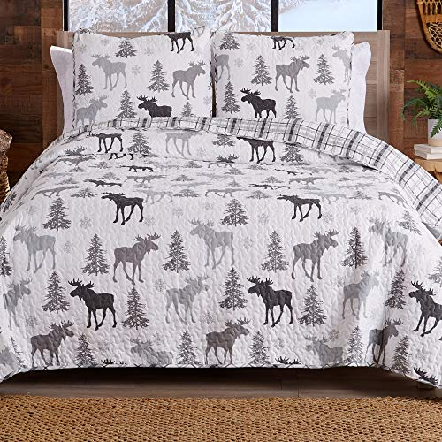 Lodge Bedspread King Size Quilt with 2 Shams. Cabin 3-Piece Reversible All...