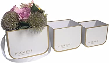 3PCS/Set 2018 New Small Size foil Gold line and Text Florist Packing Flower Bucket Box, Portable Flower Gift Box (White)