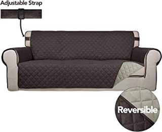 PureFit Reversible Quilted Sofa Cover, Spill, and Water Resistant Slipcover Furniture Protector, Washable Couch Cover with Non Slip Foam and Adjustable Strap for Kids, Pets (Sofa, Chocolate/Beige)