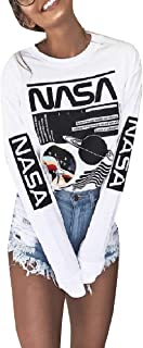 Howme-Women NASA Printed Comfort Crew-Neck Tees Top Basic T-Shirt