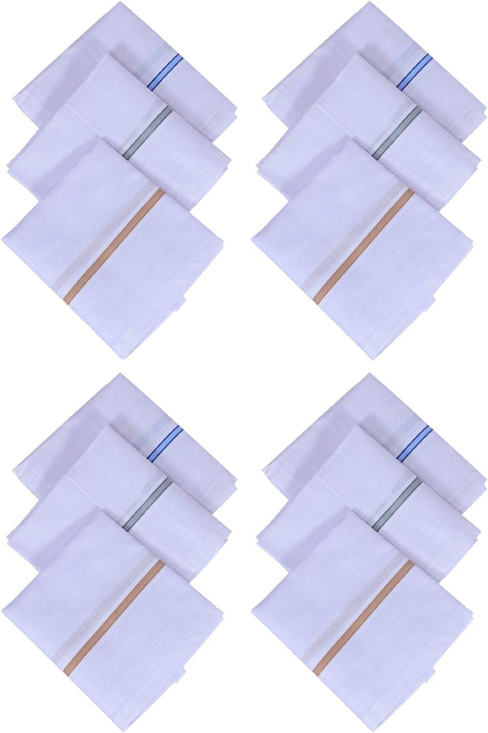 Kuber Industries Cotton 12 Piece Men's Handkerchief Set - White (CTKTC05635)