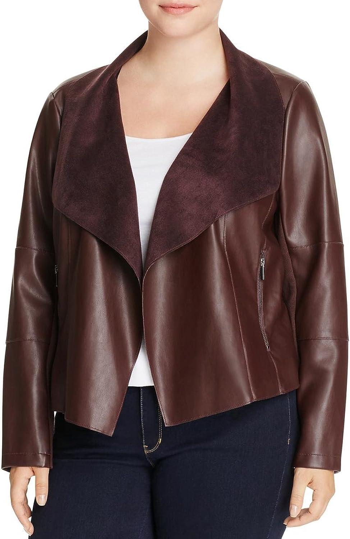 Bagatelle Womens Plus Faux Leather Open Front Jacket