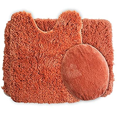 Lavish Home 3-Piece Super Plush Non-Slip Bath Mat Rug Set, Rust