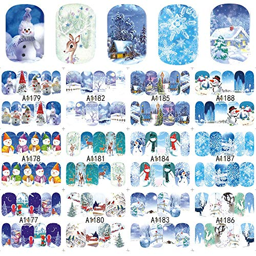 Winter Series Nail Art Stickers 12pcs Christmas Nail Decals Snowflakes Snowman Star Deer Xmas Tree Star Designs for Women Fingernails and Toenails Decorations Manicure Tips Wraps Charms Accessories