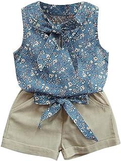 Ropa Niña Verano 2 a 3 4 5 6 7 años - 2PC/Conjunto - Chaleco de Lazo Floral + Pantalones Corto