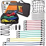 Wellmax Bungee Cords Hook Assortment Bag, 24pc +8PC Bonus Set with Cargo Net Cover and Canopy Ties Attached with Plastic Coated Metal Hooks