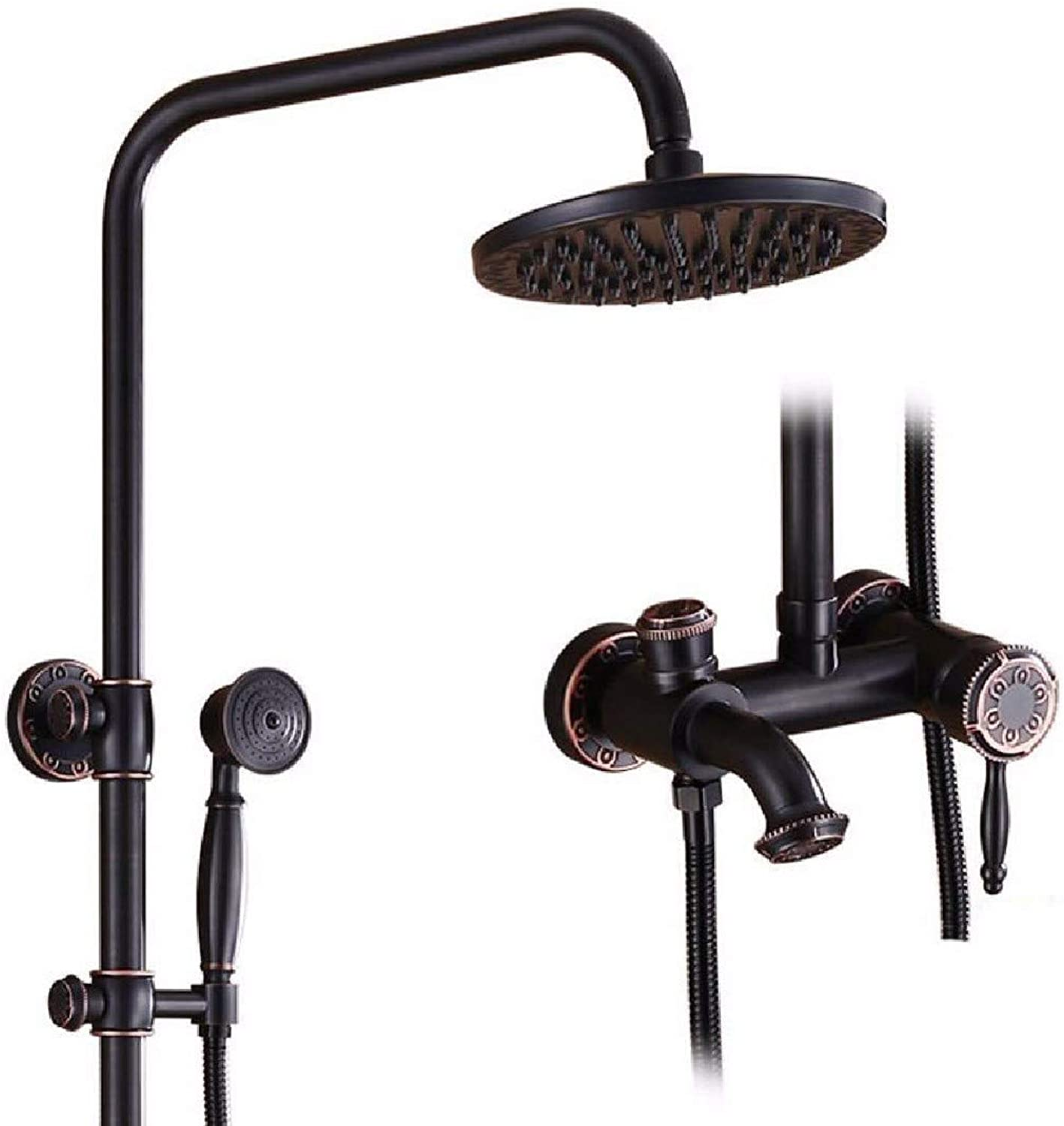 CJSHV shower Copper black shower shower set bathroom redary lifting cold and hot water mixing shower,B