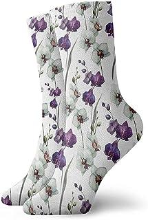 Dydan Tne, Niños Niñas Locos Divertidos Patrones de Flores púrpuras y Blancas Calcetines Lindos del Vestido de la Novedad