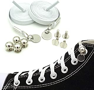 No Tie Shoelaces, Elastic Flat Laces with Metal Tips, Innovative & Fashion Design, Easy to Use, Time-Saving and Eliminate Loose Shoelace, Convenience for Kids and Adults.