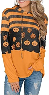 neveraway Women's Contrast Color Loose Pullover Hooded Long Sleeve Sweatshirts