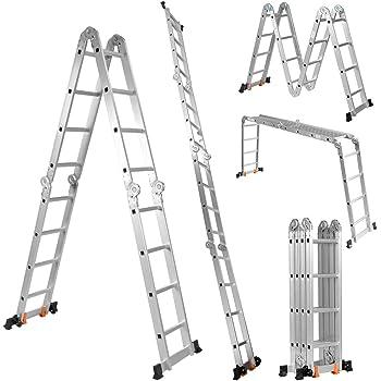 COSTWAY Escalera Telescópica de Aluminio Escalera Plegable Multifuncional Carga hasta 150 kg Longitud Total de 4,7 m para Hogar Oficina Exterior: Amazon.es: Bricolaje y herramientas