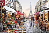 Tirzah Malen nach Zahlen mit 3X Bildschirmlupe 40 x 50cm DIY Leinwand Gemälde für Erwachsene und Kinder, Enthält Acrylfarben und 3 Pinsel - Romantische Pariser Straße (Ohne Rahmen)