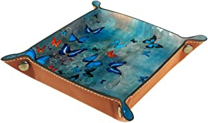 Blue Butterflies Painting Valet Tray Storage Organizer Box Coin Tray Key Tray Nightstand Desk Microfiber Leather Pouch,16x16cm
