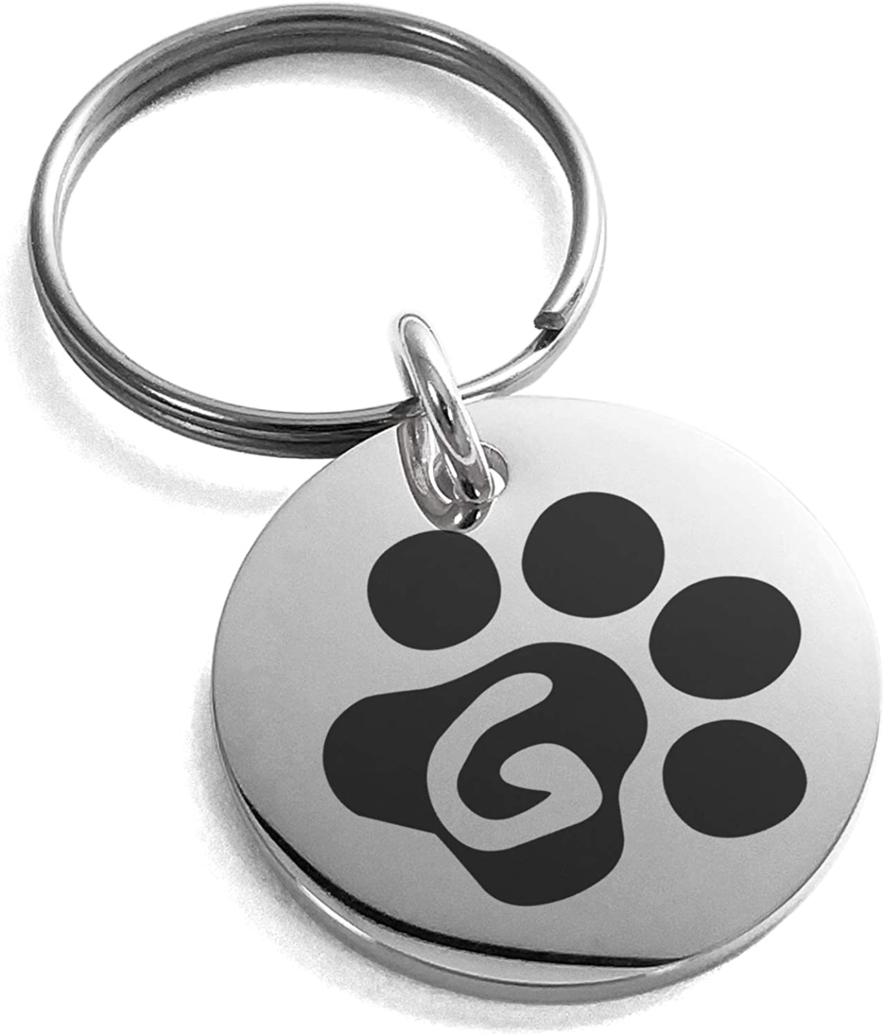Tioneer Stainless Steel Letter G Initial Cat Dog Paws Monogram Small Medallion Circle Charm Keychain Keyring