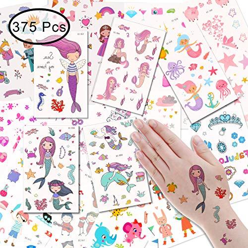EKKONG Tattoo Kinder, Meerjungfrau Tattoos Set, Meerjungfrau Temporäre Tattoos Sticker - 375 Prinzessin Tattoos Kinder Aufkleber für ädchen/ Kinder/Frauen/Erwachsene, wasserdichte Tattoo (25 Blatt)