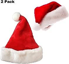 Plush Red Holiday Christmas Santa Hats (2 packs)