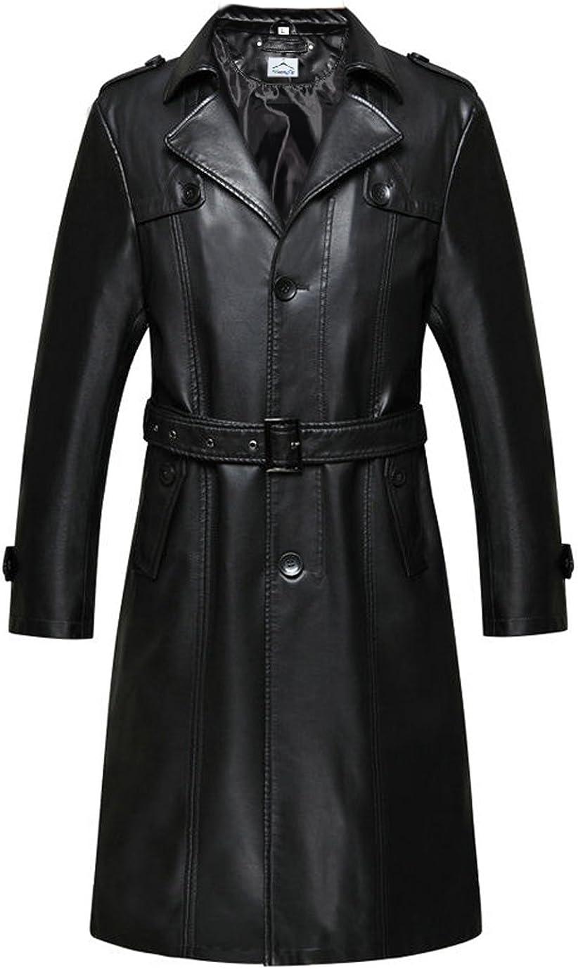 VearFit Women's Long Coat Blazar Black PU Faux Missy Leather Jacket Plus Size Winter