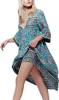 Vestidos De Verano Bohemios Mujer Largos, Vestidos Casuales De Playa con Mangas Cortas Vestidos De Estampado Flor ÉTnica S-XXXXXL
