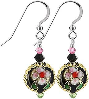 925 Sterling Silver Cloisonne Bead Swarovski Elements Crystal Handmade Drop Earrings for Women