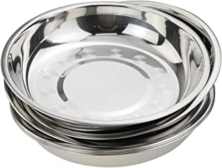 Khandekar Silver Color Size 11.5 X 11.5 Inch with device of K Stainless Steel Round Strip Design Plates,Tableware Round Dish Plates For Dinner