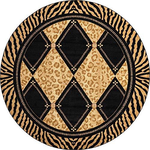 Unique Loom Wildlife Collection Leopard Geometric Border Animal Print Light Brown Round Rug (8' 0 x 8' 0)