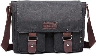 Messenger Bag for Men 13 inch Canvas Men's Satchel Shoulder Bag Laptop Bag for Work (Black)