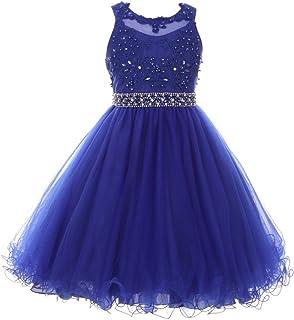 3406b310a Cinderella Couture Big Girls Royal Blue Rhinestone Pearl Beaded Mesh Junior  Bridesmaid Dress 8-16