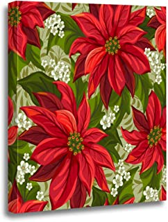 rouihot Canvas Wall Art Painting Red Christmas Wonderful Poinsettia Pattern Flower Pointsettia Victorian Pointsetta 16x20 Inches Home Decorative Artwork Prints