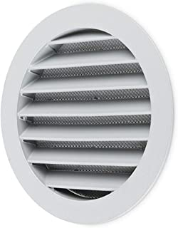 calimaero WSGG 5 Inch Round Fixed Louvre Air Vent Grille Insect Screen Grey