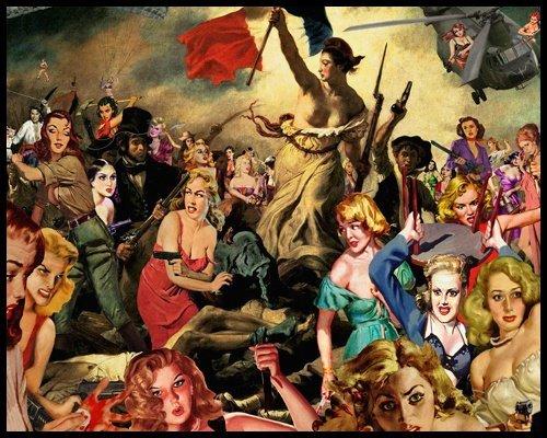 Bild mit Rahmen Barry Kite - Liberty Leading - Digitaldruck - Alimunium schwarz glänzend, 75 x 60cm - Premiumqualität - Collage, Persiflage, Delacroix, die Freiheit führt das Volk an, Pin ups, Hum.. - MADE IN GERMANY - ART-GALERIE-SHOPde