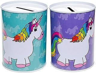 TE-Trend 2er Juego Hucha Unicornio Arco Iris Hucha Infantil Cumpleaños de Niños Regalo Surtido