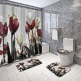 4 Stück Tulpenblüten-Duschvorhang-Set Mit Rutschfestem Teppich-Wc-Abdeckung Und Badematte Grau Rot Naturfarben Blumen-Duschvorhang Badezimmerdekoration180X180Cm (71X71Zoll)