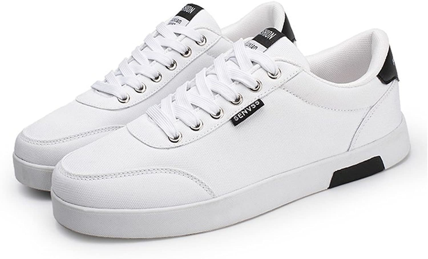 RENMEN Men's Breathable Board shoes Classic Canvas shoes Men 38-43, white