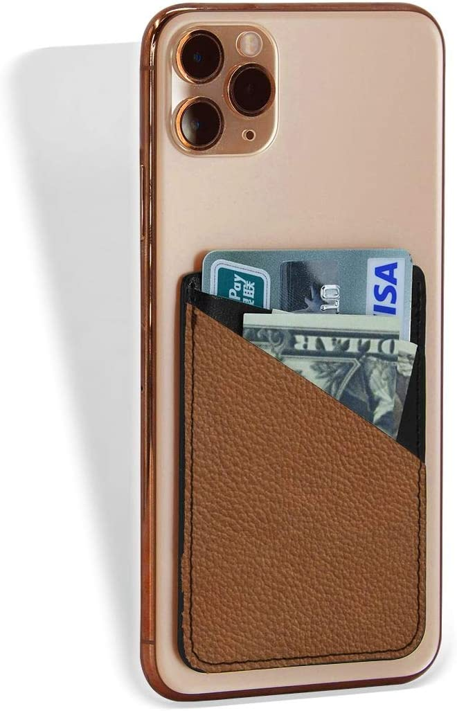 Cell Phone Card Holder Brown Max 75% OFF Stick On Slee Award-winning store Wallet Adhesive Pouch