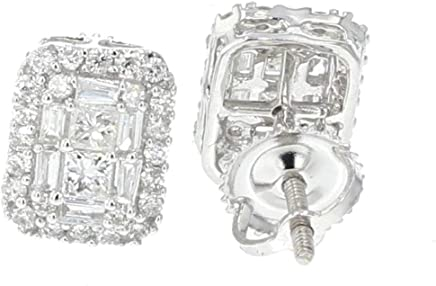 14K White Gold Diamond Earrings Rectangular Shaped Baguette Round and Princess Cut 2/3ctw Screw Back 9mm