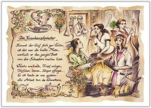 Die Staffelei Geschenk Krankenschwester Pflegerin Arzthelferin Zeichnung Color 20 x 15 cm