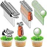 Blulu 48 Toppers de Magdalenas de Golf Palillos de Cupcake de Golf Decoración de Magdalena con Tema de Golf Adorno de Cupcake de Pelota Bolsa de Zapatos de Golf para Baby Shower Cumpleaños